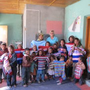 Joan Pollock and the people of Spiti with their new jumpers