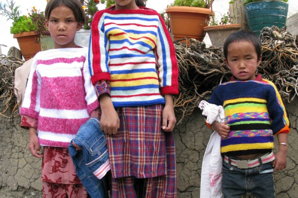 Spiti children in their knitted jumpers