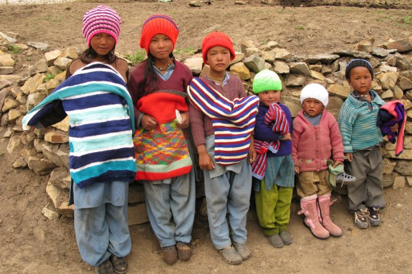 Spiti children in their new jumpers