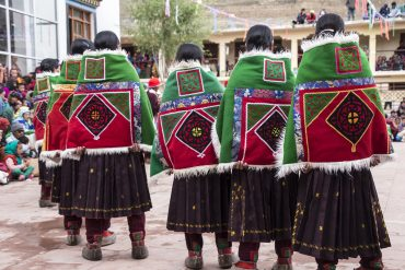 Women performing in Spiti's Traditional Lingti Shawl