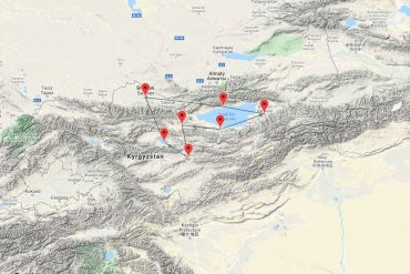 map of Tour of Kyrgyzstan led by Joan Pollock